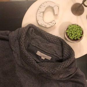 LOFT Grey Knit Sweater Three Quarter Sleeves Med.